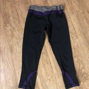 Lululemon Crop Black Purple Leggings